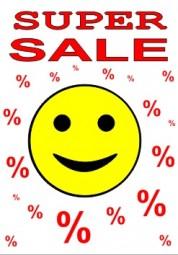 Kundenstopper Papier-Plakat A1 Kundenstopper super sale rot mit smiley gelb