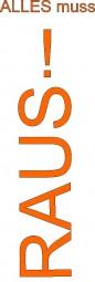 Papier-Werbebanner Alles muss RAUS! (orange)(B= 60 cm, H= 181 cm)