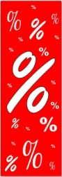 Papier-Werbebanner % (B= 43cm, H= 130 cm)