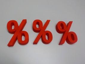 %-Zeichen mit Anstrich rot 25 cm