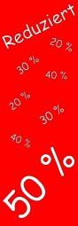 Papier-Werbebanner Reduziert 50% (rot/weiß) (B= 60 cm, H= 181 cm)