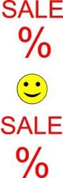 Aufkleber SALE Smiley (rot/gelb) (B= 43 cm, H= 130 cm)