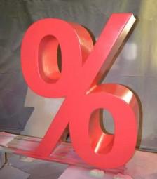 % Zeichen 1 m - Dekoration (leicht mit Hartbeschichtung)