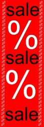 Aufkleber sale%sale%sale (rot/weiß/schwarz) (B= 60 cm, H= 181 cm)
