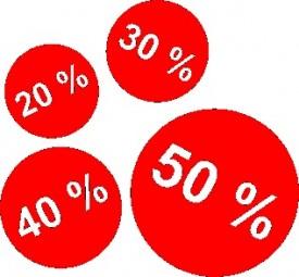 Aufkleber-Set 20 % 30 % 40 % 50 % mit Kreise (rot) Größe unterschiedlich