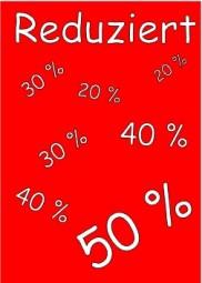Kundenstopper Papier-Plakat REDUZIERT 50% 40% (Format A1)