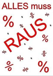 Kundenstopper Papier-Plakat ALLES muss RAUS (rot, Hintergrund weiß) (Format A1)
