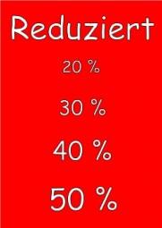Kundenstopper Papier-Plakat A1 Kundenstopper Reduziert 20 30 40 50% rot weiß