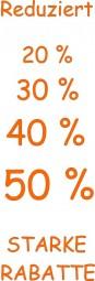 Papier-Werbebanner Starke Rabatte (orange) (B= 43 cm, H= 130 cm)