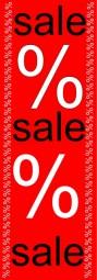 Papier-Werbebanner sale%sale%sale (rot/weiß/schwarz) (B= 60 cm, H= 181 cm)